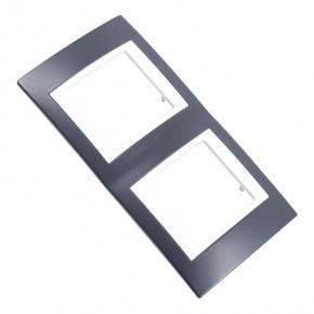 Ramki-instalacyjne - czarna ramka na dwa włączniki v6.004.877 czerń mineralna schneider unica viva