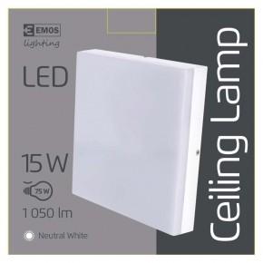 Plafony - oprawa led kwadratowa 15w ip44 neutralna biel emos - 1539043030