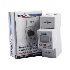 Liczniki-jednofazowe - jednofazowy licznik energii elektroniczny na szynę bm01b-l 10 (80a) bemko