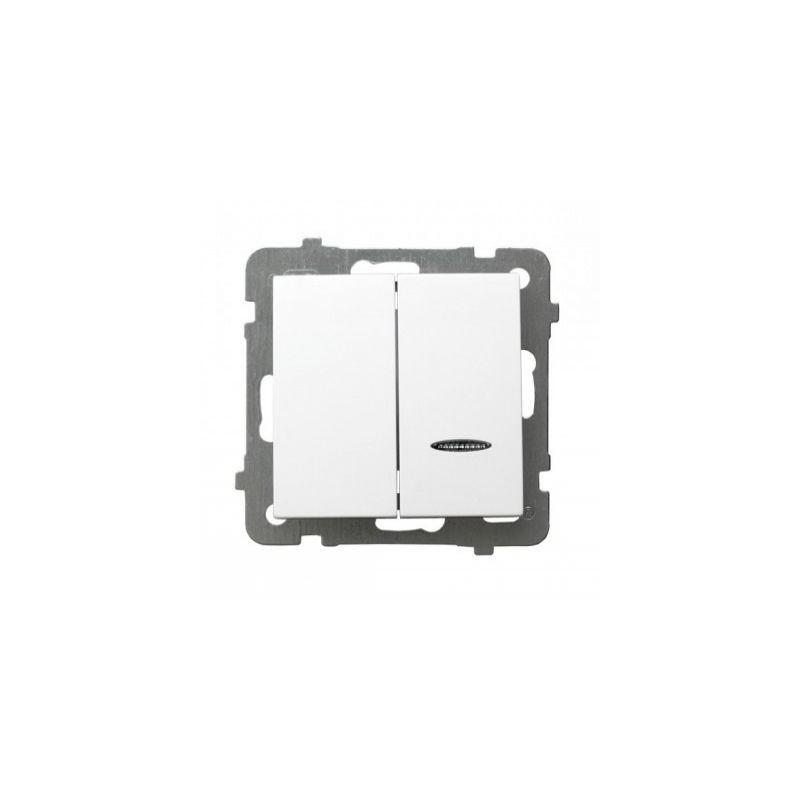 Włącznik biały podwójny z podświetleniem ŁP-2GS/m/00 AS OSPEL