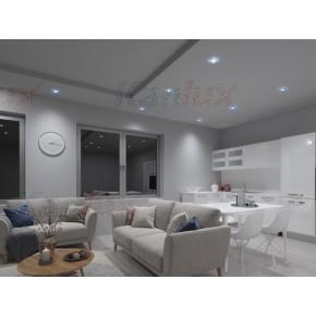 Oprawy-sufitowe - kwadratowa oprawa sufitowa srebrna z niebieskim dekoracyjnym led soren l-bl kanlux