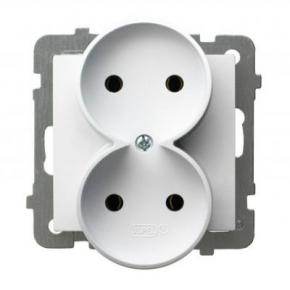 Białe gniazdo podwójne bez uziemienia GP-2GR/m/00 AS OSPEL