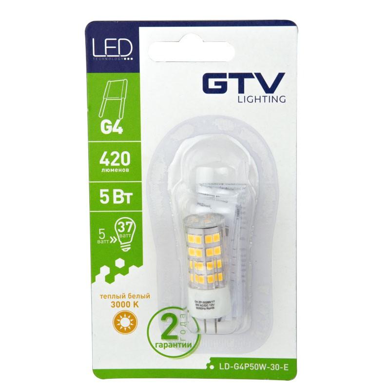 Gwint-trzonek-g4 - żarówka led g4 o mocy 5w-37w ciepła 3000k 420lm 12v dc a+ ld-g4p50w-30-e gtv firmy GTV