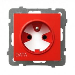 Białe pojedyncze gniazdo z uziemieniem DATA GP-1GZK/M/00 AS OSPEL