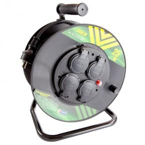 Przedluzacze-bebnowe - przedłużacz bębnowy z uziemieniem czarny guma 25m 4 gniazda 1.5mm2 3680w p084251 emos