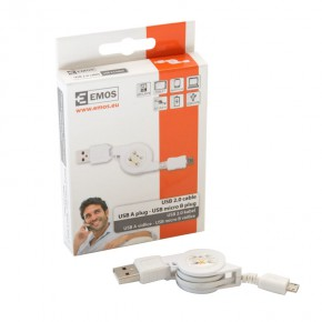Kable-usb - biały kabel usb 2.0 wtyk a - micro b do ładowania telefonu sm7040 emos