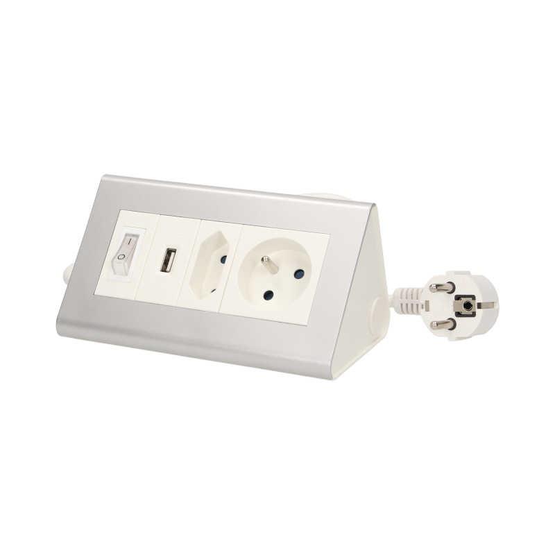 Przedluzacze-elektryczne - przedłużacz biurkowy z wyłącznikiem i ładowarką usb 1x2p+z 1x2p/ii 1xusb or-ae-1328 orno firmy ORNO