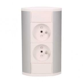 Gniazda-meblowe - gniazdo meblowe biało-srebrne 2x2p+z 3680w or-gm-9005/w-g orno