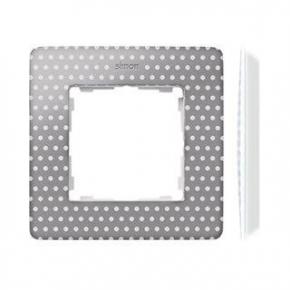 Ramka pojedyncza szara w białe kropki 8200610-211 Simon 82 Detail Kontakt-Simon