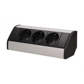 Gniazda-meblowe - czarno-srebrne podszafkowe gniazdo meblowe w wersji schuko 3x2p+z or-gm-9001/b-g(gs) orno