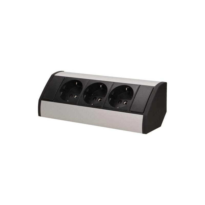 Gniazda-meblowe - czarno-srebrne podszafkowe gniazdo meblowe w wersji schuko 3x2p+z or-gm-9001/b-g(gs) orno firmy ORNO