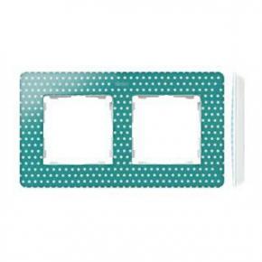 Ramka podwójna zielona w białe kropki 8200620-212 Simon 82 Detail Kontakt-Simon