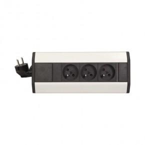Gniazda-meblowe - gniazdo meblowe potrójne z przewodem czarno-srebrne 3x2p+z 1,8m or-ae-1359 orno