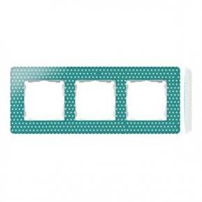 Ramka potrójna zielona w białe kropki 8200630-212 Simon 82 Detail Kontakt-Simon