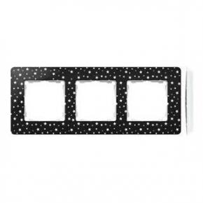 Ramka potrójna czarna w białe kropki 8200630-222 Simon 82 Detail Kontakt-Simon