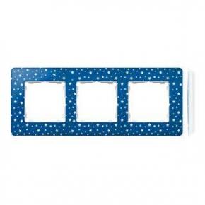 Ramka potrójna indygo w białe kropki 8200630-221 Simon 82 Detail Kontakt-Simon