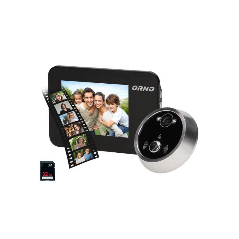 Wideodomofony - elektroniczny wizjer do drzwi na baterie z dzwonkiem podświetleniem nocnym zoomem i funkcją nagrywania na kartę or-wiz-1102 orno firmy ORNO