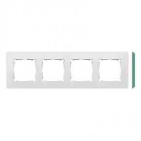 Ramka poczwórna biała z zielonym bokiem 8200640-202 Simon 82 Detail Kontakt-Simon