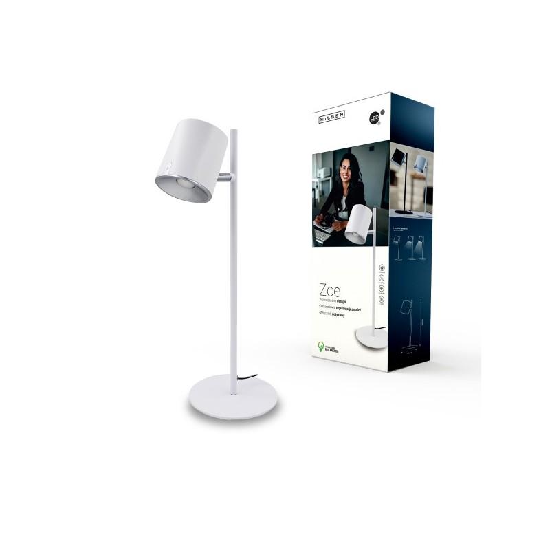 Lampki-biurkowe - lampka biurkowa led biała 6,5w 4000k 450lm zoe led px042 nilsen firmy NILSEN