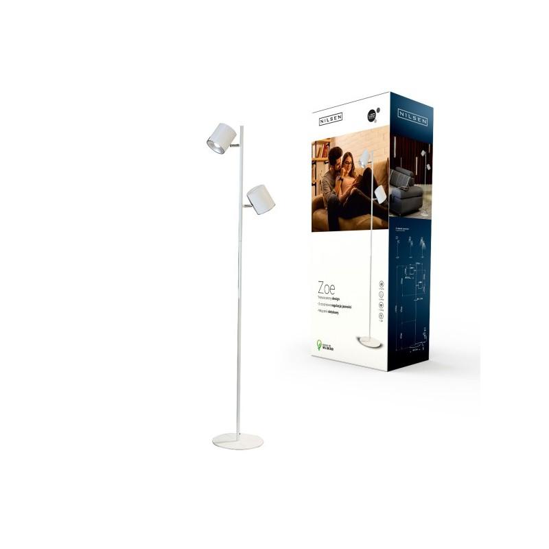 Lampy-stojace - lampa stojąca podłogowa led biała 12w 4000k 900lm zoe floor led px044 nilsen firmy NILSEN