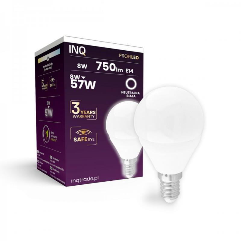 Gwint-trzonek-e14 - najlepszej jakości żarówka led e14 kulka profi 8w 750lm p45 840 inq firmy INQ