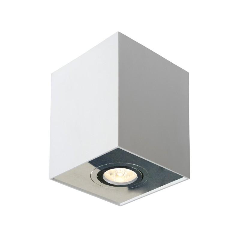 Oprawy-sufitowe - oprawa sufitowa biała kostka n/t fabio 1w/ch ruchoma biały/chrom ozzo firmy OZZO