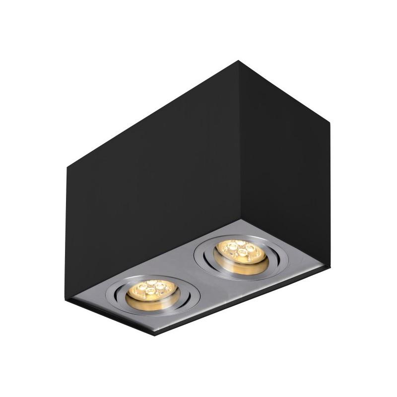 Oprawy-sufitowe - podwójna oprawa sufitowa n/t fabio 2b/al kwadrat podwójny ruchomy czarny/alu ozzo firmy OZZO
