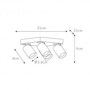 Oprawy-sufitowe - nowoczesna lampa sufitowa czarna cleo 4q-bl spot 4-50w 4 x gu10 ozzo