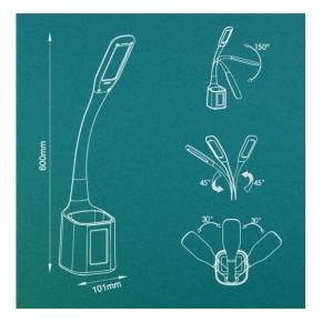 Lampki-biurkowe - biała lampka led na biurko z przybornikiem i funkcją zegarka 6w 5500k hg014 emma nilsen