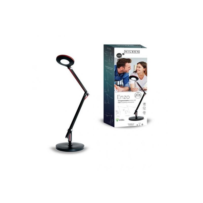 Lampki-biurkowe - biurkowa lampka led w kolorze czarnym 6w 4000k 500lm enzo px032 nilsen firmy NILSEN