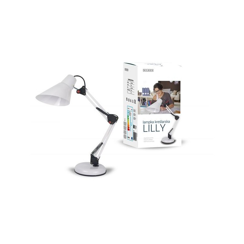 Lampki-biurkowe - nowoczesna lampka na biurko biała kreślarska 40w e27 lilly fn017 nilsen firmy NILSEN