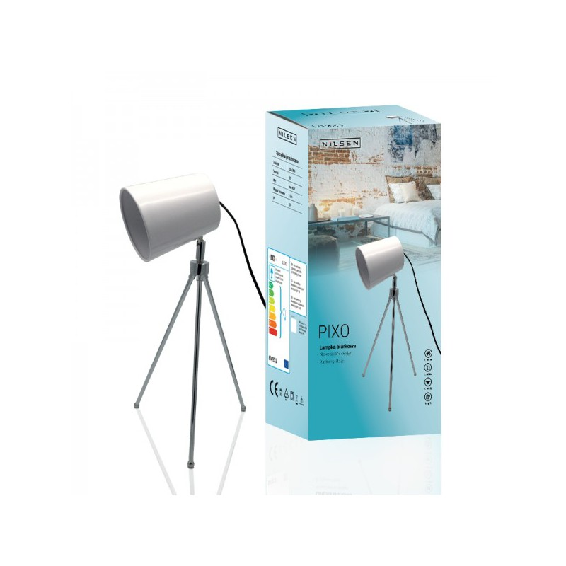 Lampki-biurkowe - lampka biurkowa i stołowa w kolorze białym 60w e27 ls003 pixo nilsen firmy NILSEN