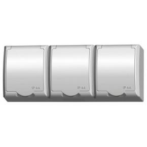 Gniazda-potrojne-natynkowe - gniazdo potrójne natynkowe ip44 z klapką białą gnh-3hz/00/w fala ospel