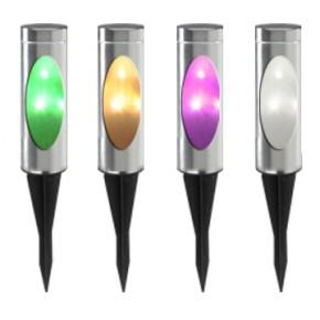 Lampy-solarne - lampka solarna 35 cm wbijana kolorowe światło togo polux