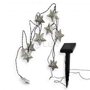 Swiecace-kule-i-girlandy - girlanda solarna do ogrodu gwiazdki srebrne z czujnikiem zmierzchu 3,8m 3000k decos led 304445 polux