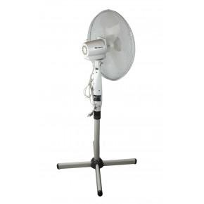 Wentylatory-podlogowe - wentylator stojący podłogowy biały 45w o średnicy 16'' z regulacją wysokości da-1601 descon