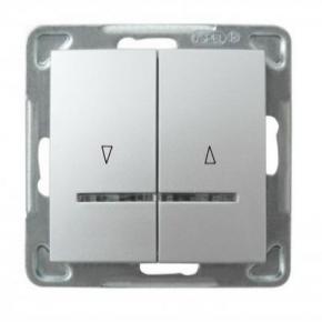 Srebrny włącznik żaluzjowy ŁP-7YS/m/18 IMPRESJA OSPEL
