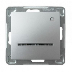 Srebrny przycisk dzwonkowy z podświetleniem ŁP-6YS/m/18 IMPRESJA OSPEL