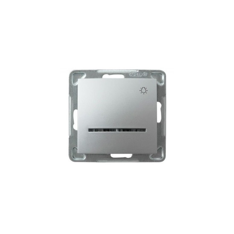 Włącznik srebrny światło zwierne z podświetleniem ŁP-5YS/m/18 IMPRESJA OSPEL