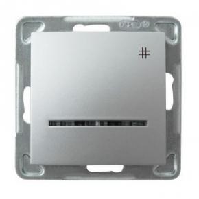 Srebrny włącznik krzyżowy z podświetleniem ŁP-4YS/M/18 IMPRESJA OSPEL