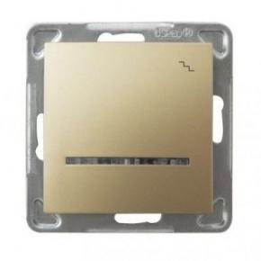 Złoty włącznik schodowy z podświetleniem ŁP-3YS/m/28 IMPRESJA OSPEL