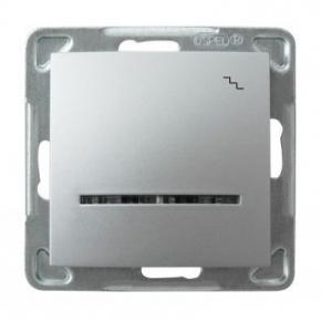 Srebrny włącznik schodowy z podświetleniem ŁP-3YS/m/18 IMPRESJA OSPEL