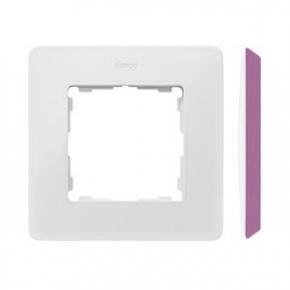 Ramka pojedyncza biała z różowym bokiem 8200610-203 Simon 82 Detail Kontakt-Simon