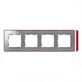 Ramka poczwórna aluminiowa z czerwonym bokiem 8201640-255 Simon 82 Detail Kontakt-Simon