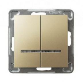 Złoty podwójny włącznik z podświetleniem ŁP-2YS/m/28 IMPRESJA OSPEL
