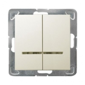 Włącznik ECRU podwójny z podświetleniem ŁP-2YS/m/27 IMPRESJA OSPEL