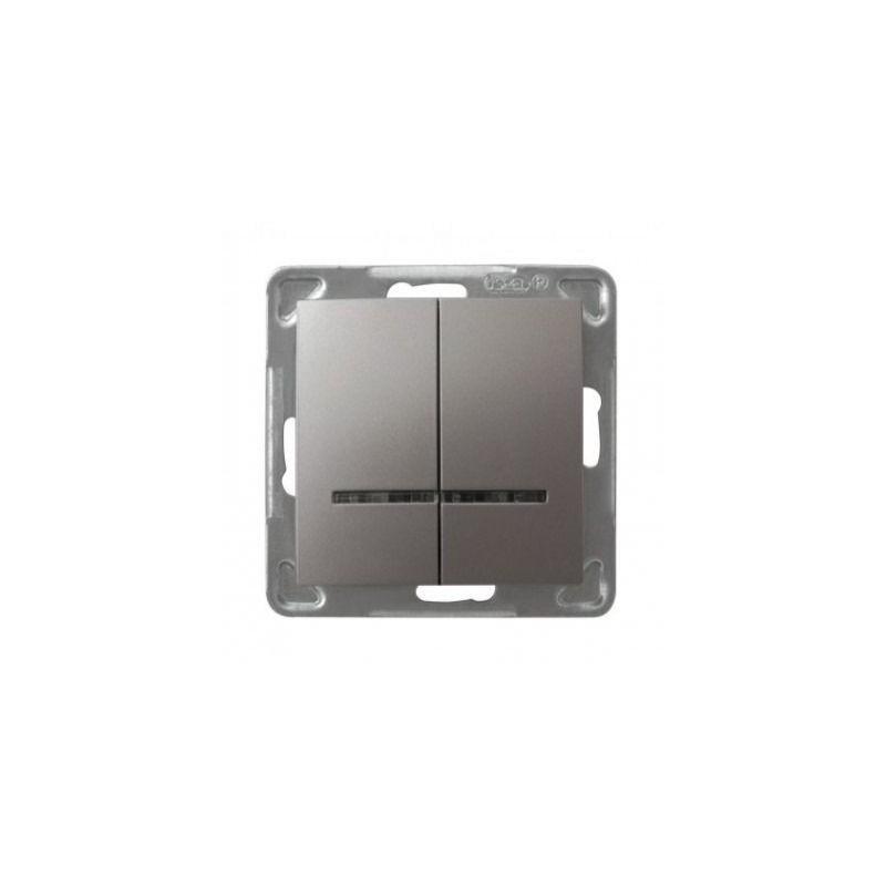 Podwójny tytanowy włącznik dwubiegunowy z podświetleniem ŁP-2YS/m/23 IMPRESJA OSPEL