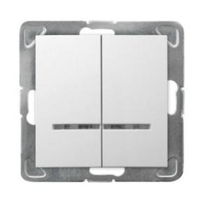 Włącznik dwubiegunowy biały z podświetleniem ŁP-2YS/m/00 IMPRESJA OSPEL