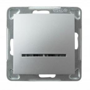 Srebrny jednobiegunowy włącznik z podświetleniem ŁP-1YS/m/18 IMPRESJA OSPEL