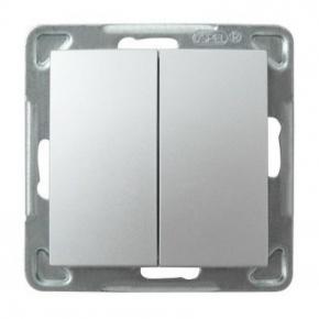 Podwójny srebrny włącznik schodowy ŁP-10Y/m/18 IMPRESJA OSPEL